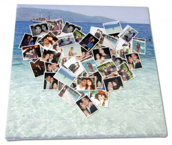 Photos collected in the shape of a heart with a beach photo background on a canvas print