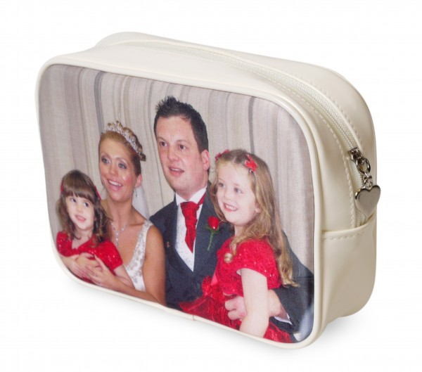 family portrait printed on makeup bag