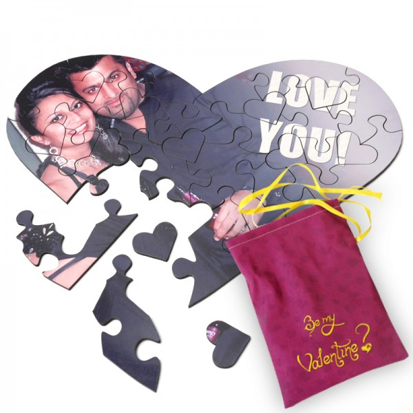 Heart shaped jigsaw puzzle for Valentine's Day gifts with personalised message and photo of couple
