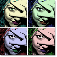 Woman in andy warhol style