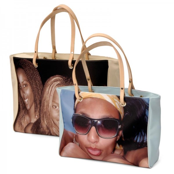 Two handbags with photos of women