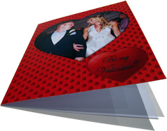Red valentine's day card with a heart shaped photo and text
