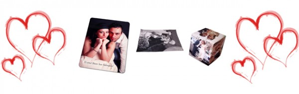 Assorted photo gifts with a love heart frame