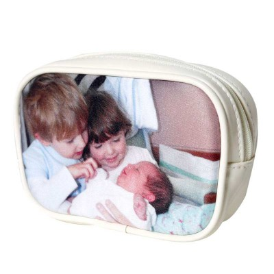 ivory vinyl pouch purse with children on it