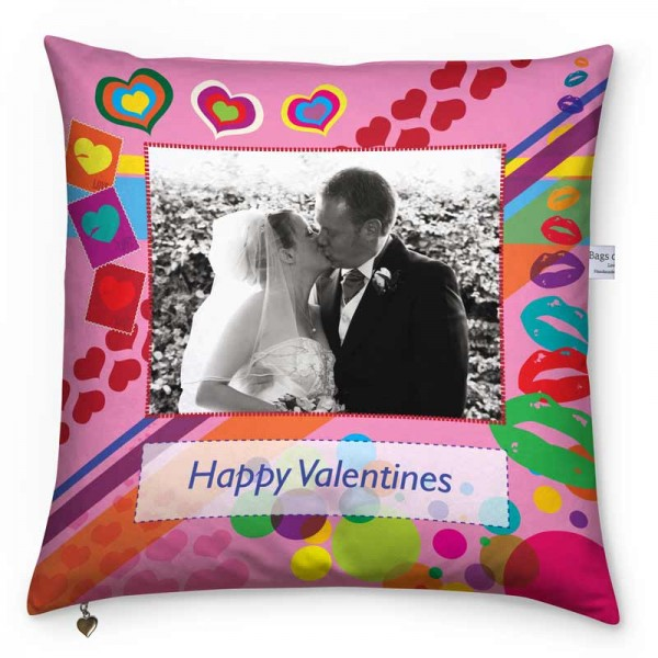Couple on their wedding day and a colourful pattern on a cushion