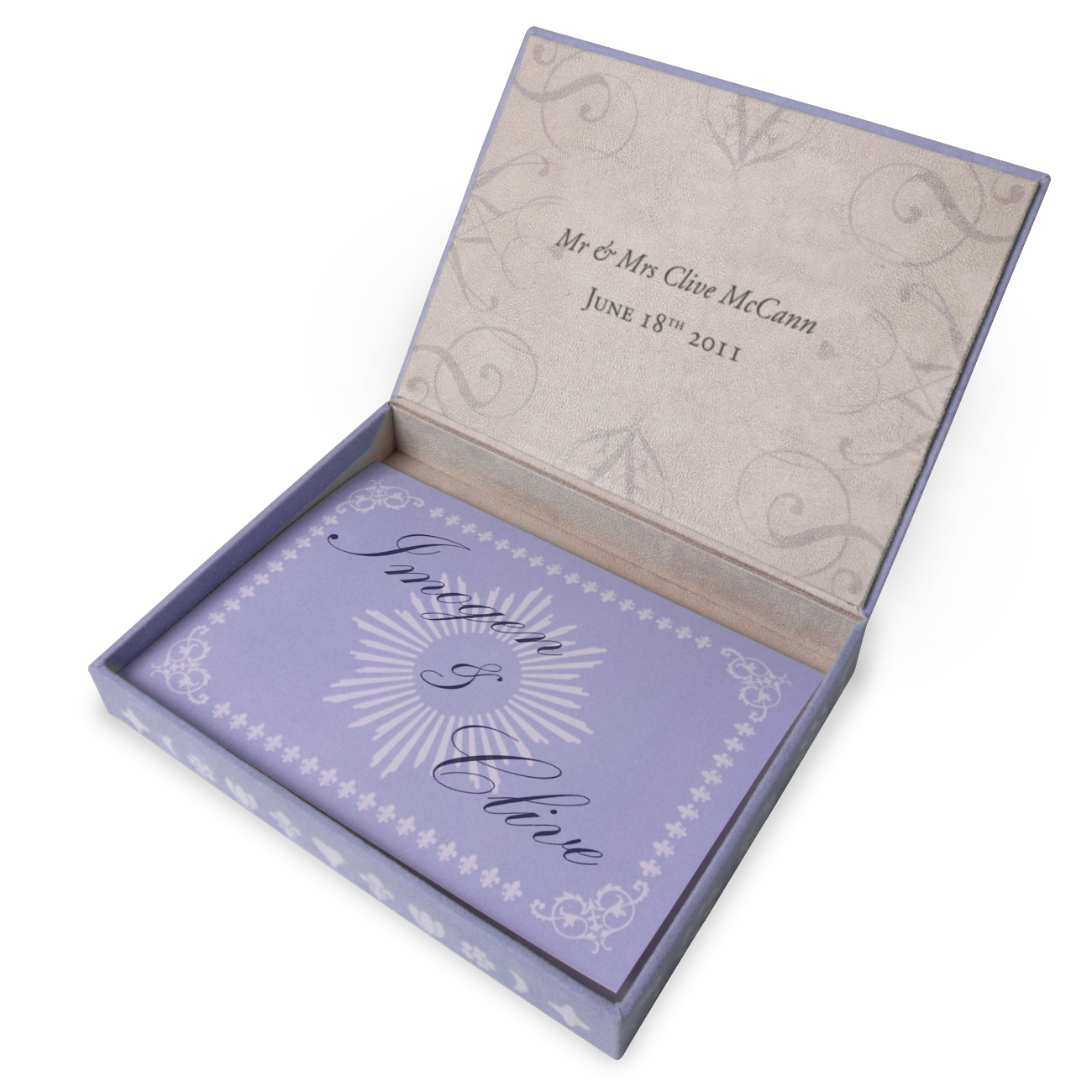 Open box with lilac exterior and ivory interior and text on the lid
