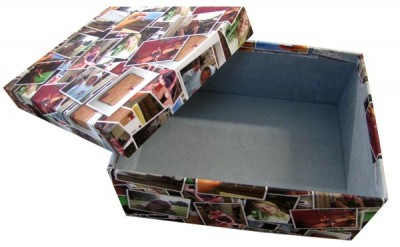 Box with photo montage exterior and baby blue interior