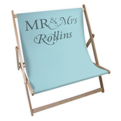 Light blue seat deckchair with Mr and Mrs Rollins written on it