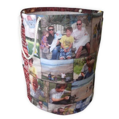 Laundy basket printed with family photos and handles on each side