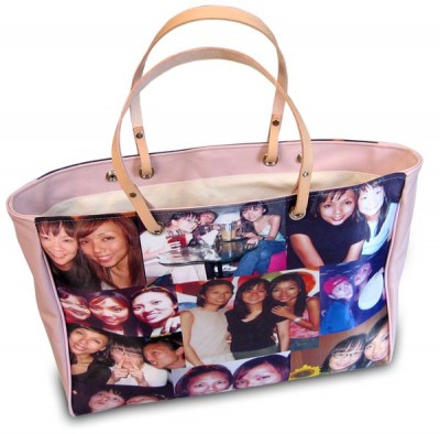 Several photos printed on a pink handbag
