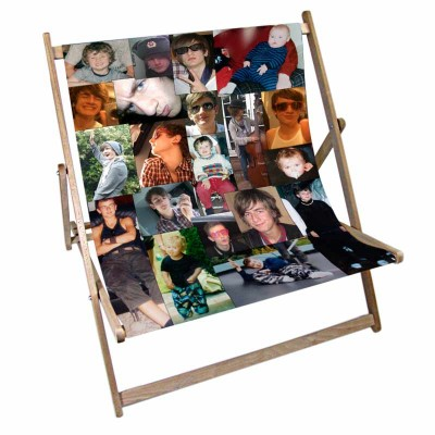 A photo montage of several phots on a deckchair