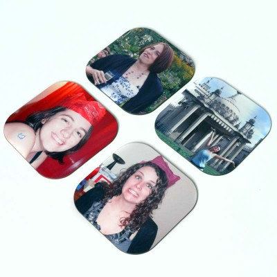 Woman on four coasters