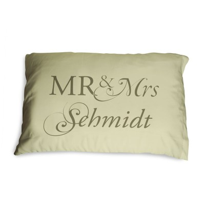 Umber coloured pillow with Mr and Mrs Schmidt written on it