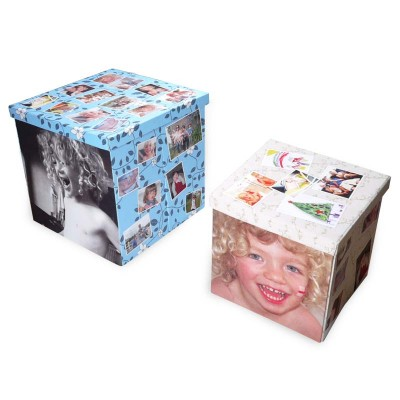 2 folding photo storage boxes with photos of children printed on all sides