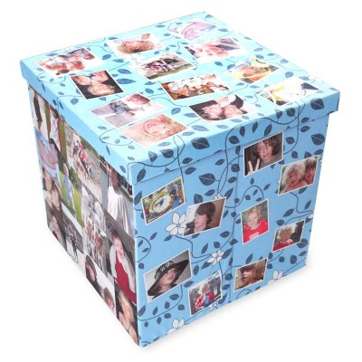 a colourful photo storage box with lid and 16 photos printed on all sides