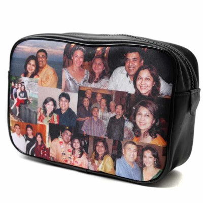 Small photos in a collage on a black wash bag