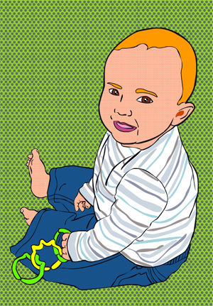 Cartoon baby on a green background