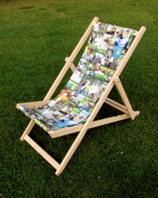 A photo montage deckchair standing on grass