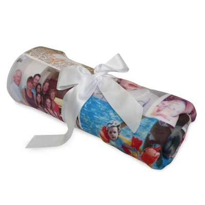 Photo blanket rolled up and tied with a white silk bow