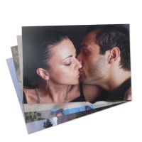 Woman and man kissing on photo poster print