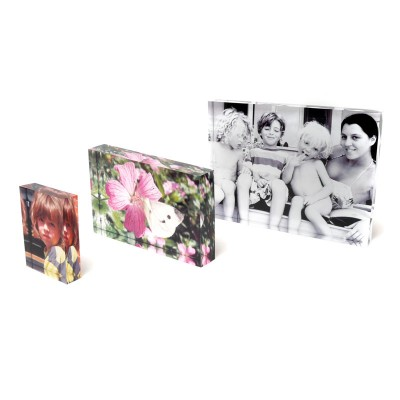 Three glass photo blocks