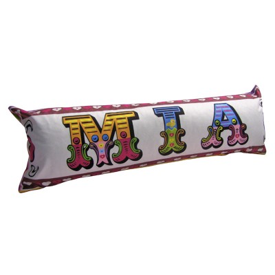 Mia written in colourful letters on a bolster cushion