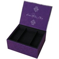 A black and purple personalised jewellery box with open lid and message inside