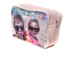 Washbag in pink with a photo of two children