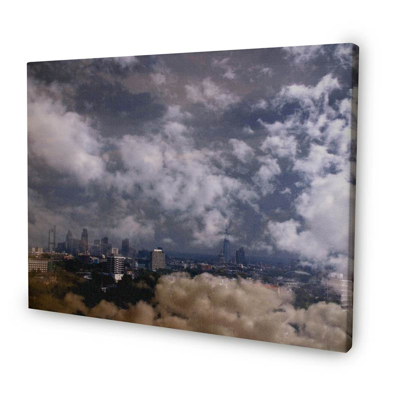 Photo canvas with a photo of a cloudy sky