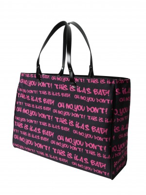 Photo bags styled with a graffiti of words