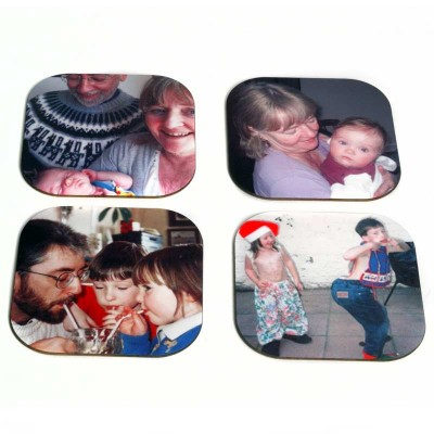 Photo coasters with four different images of a family