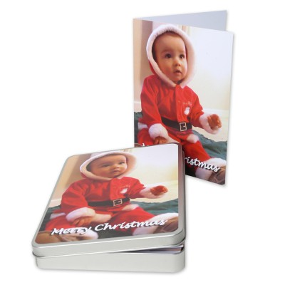 Personalised Christmas greeting card with baby santa