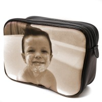 Men's wash bag as small xmas gift with boy in tub