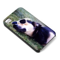 Custom iPhone cover with cool dog in sunglasses