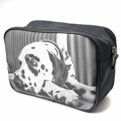 Wash bag for men with a photo of a dog in black and white