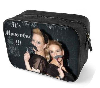Wash bags for men with an image of two girls with fake moustaches