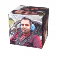 Personalised Christmas gifts for men photo cube with male pilot