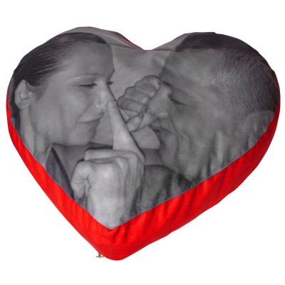 Romantic with meaningful photo gifts pillow of love with nose touching couple