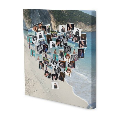 Romantic with meaningful photo gifts montage canvas with heart