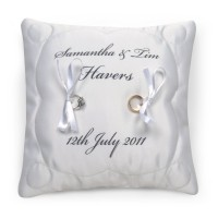 wedding ring cushion with names and date print