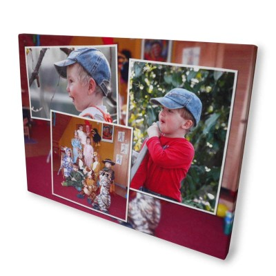 Christmas gifts for mothers photo montage canvas print boy in baseball cap
