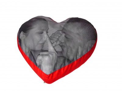Valentine's Day gift ideas Cushion of Love B&W nose touching couple