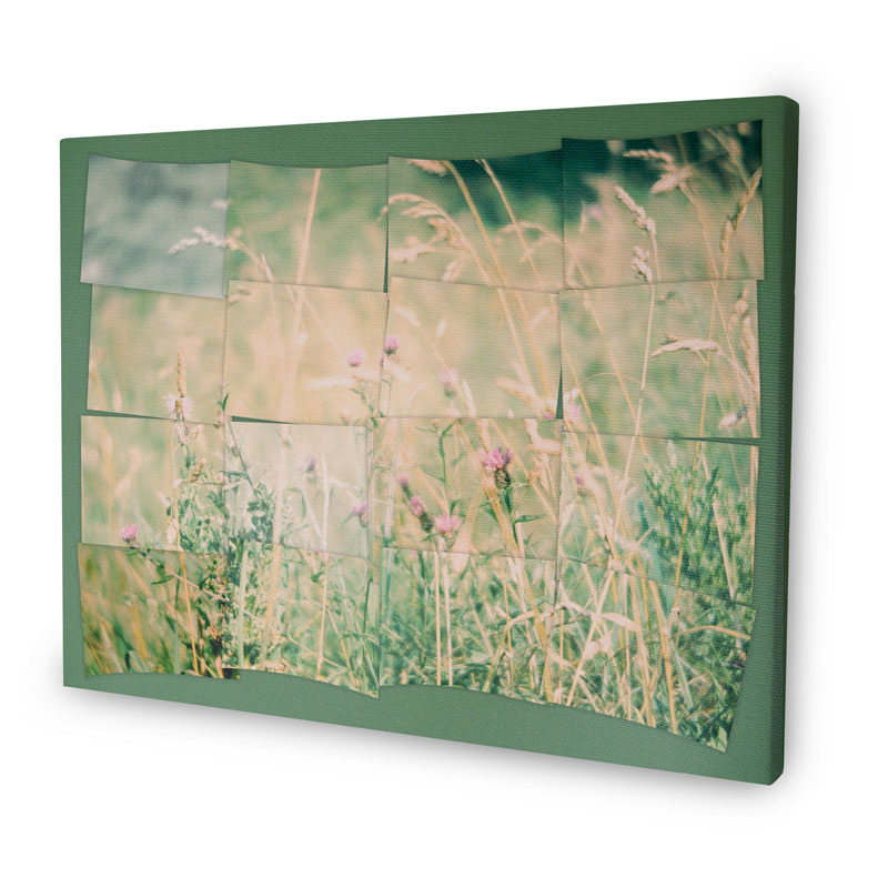 Canvas with a Hockney montage with an image of a field of flowers