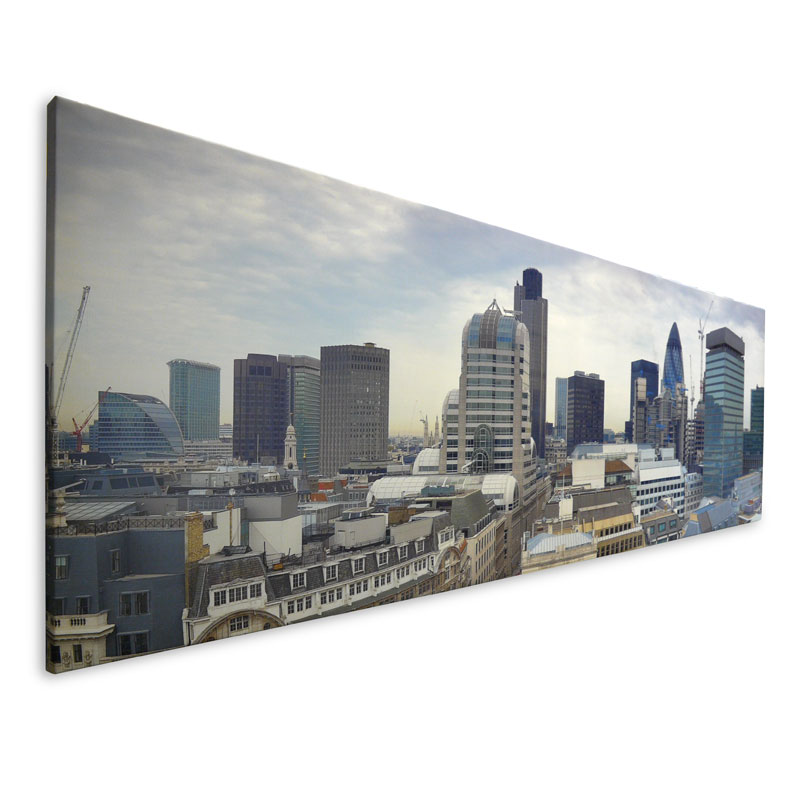 Panoramic canvas with a photo of a skyline