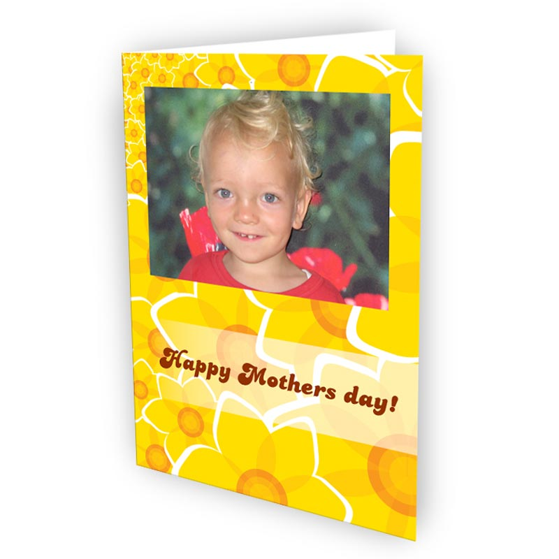Personalised postcards with a picture of a boy and text