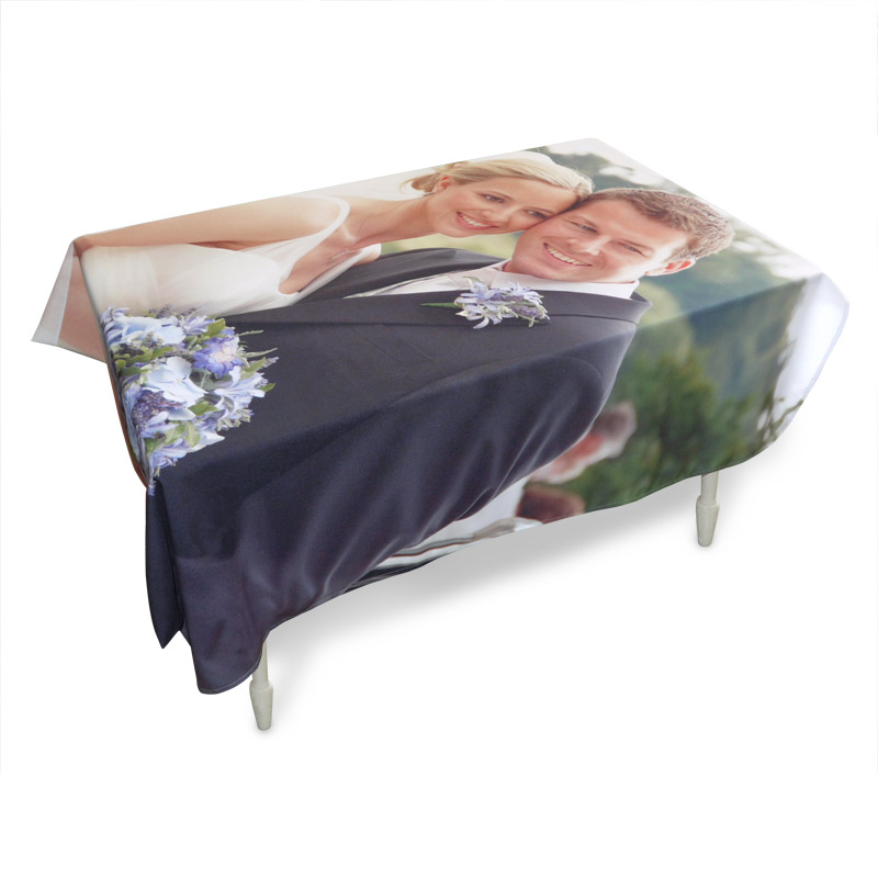 personalised table cloth with image of a wedding couple