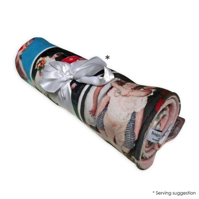 Photo blanket with a montage, rolled up as Mother's day gifts