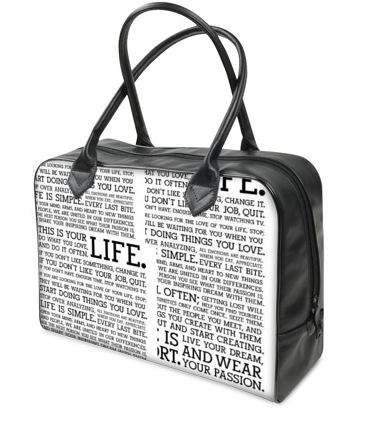 holdall with a text design in black and white