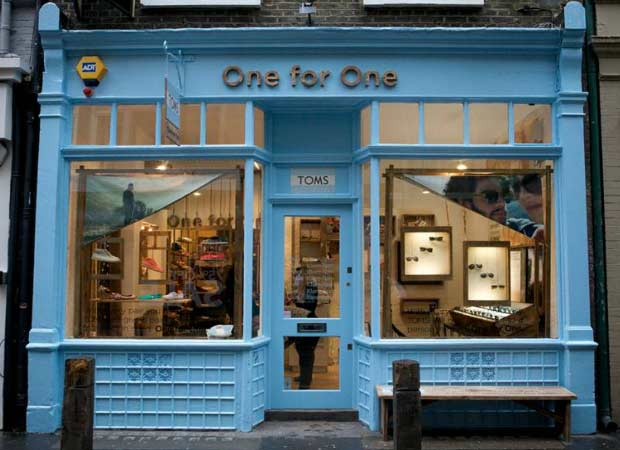 TOMS shop covent garden with bags of love photo banners