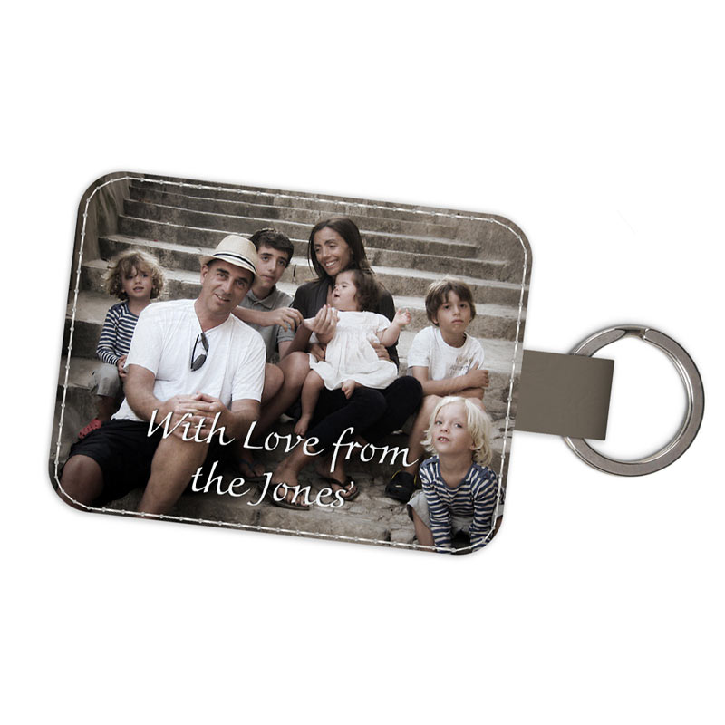 Father's Day photo keyring, personalised in luxury leather.